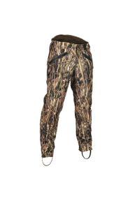 SOLOGNAC - Spodnie myśliwskie 500 warm camo. Stan: podwyższony. Materiał: poliester, polar, skóra, wełna. Wzór: paski