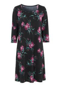 Czarna sukienka mini Cellbes w kwiaty, elegancka