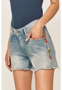 Niebieskie szorty Pepe Jeans z haftami, na co dzień, casualowe