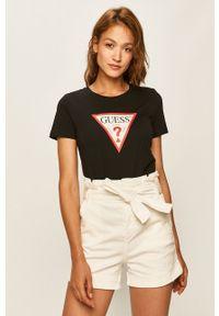 Czarna bluzka Guess Jeans z nadrukiem, z okrągłym kołnierzem, na co dzień, casualowa