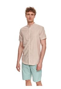 TOP SECRET - Koszula z krótkim rękawem z tkaniny oxford. Typ kołnierza: kołnierzyk stójkowy. Kolor: beżowy. Materiał: tkanina. Długość rękawa: krótki rękaw. Długość: krótkie. Styl: elegancki