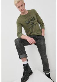 Tom Tailor - Longsleeve bawełniany. Okazja: na co dzień. Kolor: zielony. Materiał: bawełna. Długość rękawa: długi rękaw. Wzór: nadruk. Styl: casual