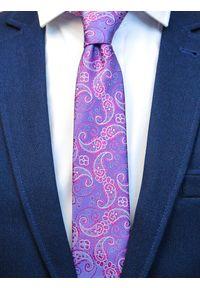 Modini - Fioletowy krawat męski w różowy paisley C17. Kolor: różowy, wielokolorowy, fioletowy. Materiał: tkanina, mikrofibra. Wzór: paisley