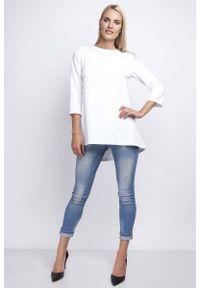 Nommo - Biała Luźna Asymetryczna Bluzka z Rękawami 3/4. Kolor: biały. Materiał: bawełna