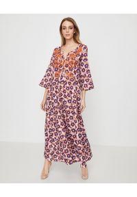 Brązowa sukienka maxi, elegancka, z aplikacjami