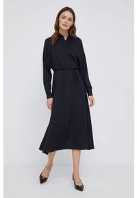 Calvin Klein - Sukienka. Kolor: czarny. Materiał: włókno, tkanina, materiał. Długość rękawa: długi rękaw. Wzór: gładki. Typ sukienki: rozkloszowane