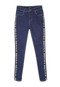 Niebieskie spodnie TOP SECRET eleganckie, z napisami, długie