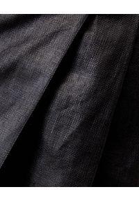 Alexander McQueen - ALEXANDER MCQUEEN - Czarne spodenki z lnu. Okazja: do pracy. Stan: podwyższony. Kolor: czarny. Materiał: len. Styl: elegancki