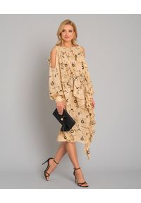 ONETEASPOON - Sukienka w azteckie wzory. Okazja: na co dzień. Kolor: beżowy. Materiał: wiskoza. Długość rękawa: długi rękaw. Typ sukienki: asymetryczne. Styl: casual. Długość: midi