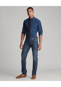 Ralph Lauren - RALPH LAUREN - Granatowa koszula w kropki Slim Fit. Typ kołnierza: polo. Kolor: niebieski. Materiał: jeans. Długość rękawa: długi rękaw. Długość: długie. Wzór: kropki. Styl: klasyczny