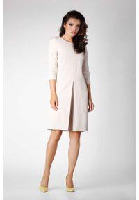 Beżowa sukienka Nommo prosta, elegancka