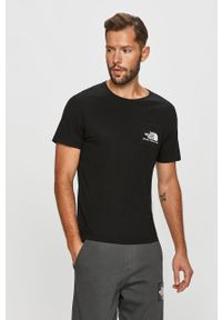 Czarny t-shirt The North Face na co dzień, casualowy, z nadrukiem