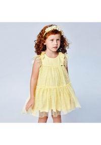 Mayoral Sukienka elegancka 3913 Żółty Regular Fit. Kolor: żółty. Styl: elegancki
