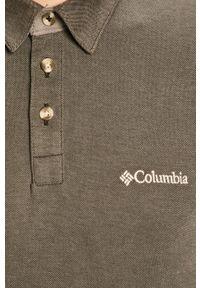 Szara koszulka polo columbia casualowa, z aplikacjami, krótka