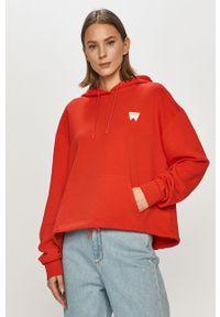 Czerwona bluza Wrangler z kapturem, z długim rękawem