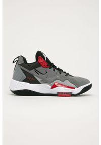 Szare sneakersy Jordan z cholewką, z okrągłym noskiem, na sznurówki