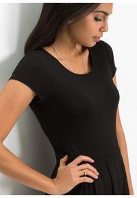 Czarna sukienka bonprix na lato, z nadrukiem, z krótkim rękawem
