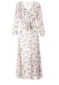 Born2be - Biało-Beżowa Sukienka Doryrianne. Kolor: biały. Materiał: materiał. Długość rękawa: długi rękaw. Wzór: nadruk. Typ sukienki: kopertowe. Długość: maxi