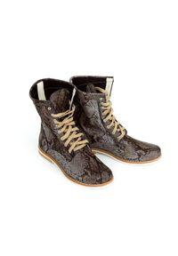 Czerwone botki Zapato na spacer, wąskie, z cholewką za kostkę, w kolorowe wzory