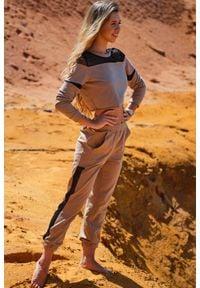 Infinite You - Dresowe Spodnie z Siateczkowym Panelem - Beżowe. Kolor: beżowy. Materiał: dresówka