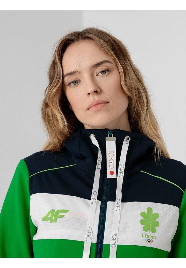 4f - Bluza damska Litwa - Tokio 2020. Typ kołnierza: kaptur. Kolor: zielony. Materiał: dzianina, materiał. Sezon: lato