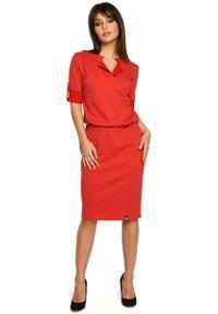 Czerwona sukienka MOE ze stójką, sportowa, sportowa