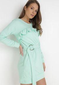 Born2be - Miętowa Sukienka Wesviraz. Kolor: miętowy. Materiał: materiał. Długość rękawa: długi rękaw. Długość: mini
