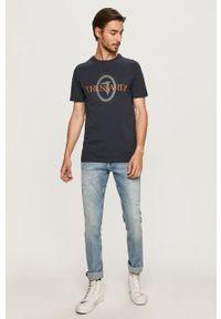 Niebieski t-shirt Trussardi Jeans na co dzień, z nadrukiem