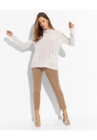 LE TRICOT PERUGIA - Szary sweter z golfem. Typ kołnierza: golf. Kolor: szary. Materiał: kaszmir. Długość rękawa: długi rękaw. Długość: długie. Wzór: aplikacja