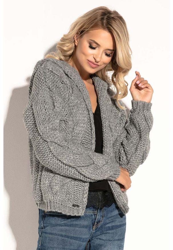 Szary sweter Fobya krótki, z kapturem