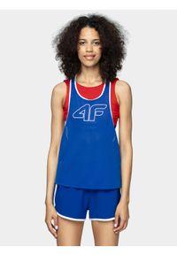 Niebieski top sportowy 4f krótki, bez rękawów, na fitness i siłownię