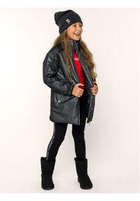 Czarna kurtka puchowa Karl Lagerfeld z dekoltem karo