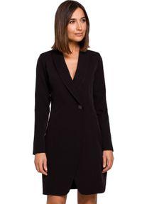 Style - Elegancka biznesowa żakietowa sukienka na jeden guzik. Okazja: na spotkanie biznesowe. Styl: biznesowy, elegancki