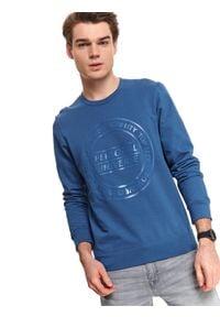 TOP SECRET - Bluza męska nierozpinana. Kolor: niebieski. Materiał: bawełna. Wzór: nadruk, napisy. Sezon: jesień, zima