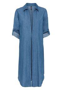 """Długa bluzka z rozcięciami po bokach bonprix niebieski """"stone"""". Kolor: niebieski. Długość: długie"""