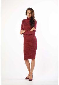Nommo - Bordowa Dzianinowa Sukienka Midi z Golfem. Typ kołnierza: golf. Kolor: czerwony. Materiał: dzianina. Długość: midi