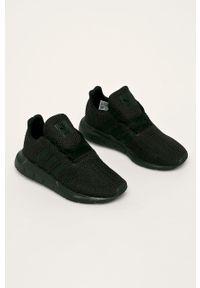Czarne buty sportowe adidas Originals z okrągłym noskiem, z cholewką