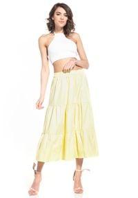 Tessita - Rozkloszowana Midi Spódnica na Gumie - Żółta. Kolor: żółty. Materiał: guma