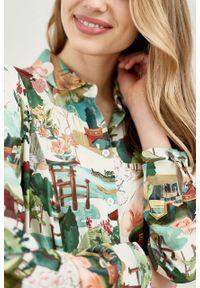 Marie Zélie - Sukienka Colette Tokio. Materiał: wiskoza, skóra, materiał. Długość rękawa: długi rękaw. Wzór: gładki. Typ sukienki: szmizjerki. Styl: elegancki. Długość: midi
