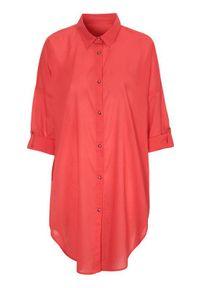 Cellbes Cienka koszula plażowa czerwony female czerwony 62/64. Okazja: na plażę. Kolor: czerwony. Materiał: bawełna. Długość rękawa: długi rękaw. Długość: długie. Styl: elegancki