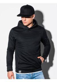 Ombre Clothing - Bluza męska z kapturem B1079 - czarna - XXL. Typ kołnierza: kaptur. Kolor: czarny. Materiał: bawełna, poliester