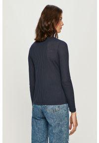Niebieska bluzka z długim rękawem Pepe Jeans na co dzień, z golfem, casualowa