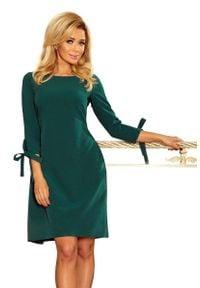 Numoco - Zielona Sukienka z Kokardkami i Paskiem. Typ kołnierza: kokarda. Kolor: zielony. Materiał: poliester, elastan