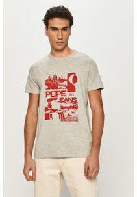 Pepe Jeans - T-shirt Dan. Okazja: na co dzień. Kolor: szary. Materiał: dzianina. Wzór: nadruk. Styl: casual