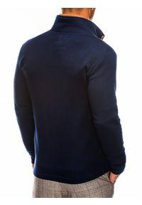 Ombre Clothing - Bluza męska rozpinana bez kaptura CARMELO - granatowa - XL. Typ kołnierza: bez kaptura. Kolor: niebieski. Materiał: poliester, dzianina, bawełna