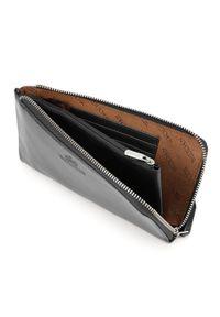 Wittchen - Damski portfel ze skóry duży z uchwytem. Kolor: czarny. Materiał: skóra