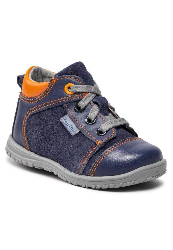 RenBut - Trzewiki RENBUT - 13-1442 Granat/Pomarańcz. Kolor: niebieski. Materiał: skóra, zamsz. Szerokość cholewki: normalna. Sezon: zima