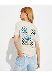 OFF-WHITE - T-shirt z logo na plecach. Kolor: beżowy. Materiał: bawełna. Wzór: kolorowy, nadruk