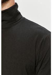 Czarna koszulka z długim rękawem Tailored & Originals na co dzień, z golfem, casualowa