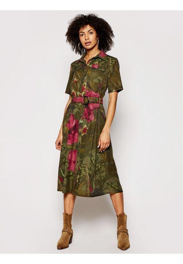 Zielona sukienka Desigual koszulowa